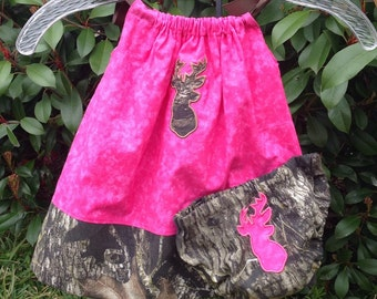 Baby Girl's Future Hunter Pillowcase Dress in Pink and Camo with Coordinating Diaper Cover and Deer Head Accent Applique Baby Shower Gift