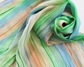 Hand Painted Silk Scarf - Handpainted Scarves Green Blue Slate Denim Sky Navy Garden Kelly Grass Peach Tan Orange Dyed