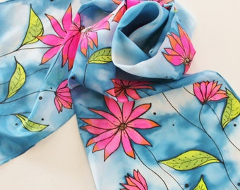 Hand Painted Silk Scarf - Handpainted Scarves Navy Blue Hot Pink Fuchsia Orange Black Olive Lime Green White Flowers Floral Bright