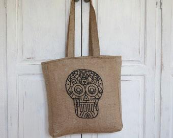 Tote bag SKULL - fashion tote bag,handmade,diy tote bag,burlap,pattern,cross stitch,needlepoint,embroidery,grey,shopping bag,anette eriksson