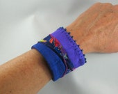 Fabric Cuff Bracelet - Purple Silk