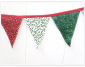 Christmas Banner, Holiday Banner, Christmas Bunting, Green and Red Fabric Bunting, Christmas Fabric Banner, Home Holiday Decor, Pennant Flag
