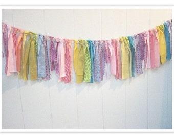 Rainbow Rag Banner, Carnival Banner, Circus Bunting, Rainbow, Fabric Banner, Birthday Decor,