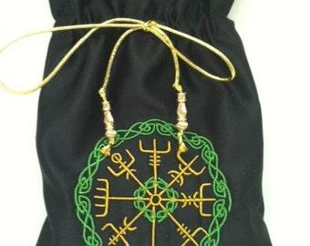 Black Satin Norse Compass Tarot Bag