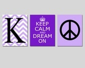 Keep Calm and Dream On, Chevron Monogram Initial, Peace Sign Trio - Set of Three 11x14 Prints - CHOOSE YOUR COLORS - Teen Girl Bedroom Art