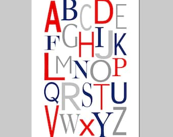 Modern Alphabet - 13x19 Print - Kids Wall Art for Nursery or Playroom - CHOOSE YOUR COLORS - Shown in Yellow, Gray, Navy Blue, Red, and More