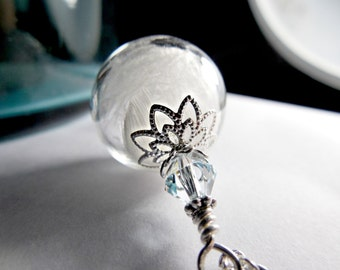 Silver Feather Necklace White Flybaby Angel Wing  Hollow Lampwork Bead Round Necklace  - 24 inches