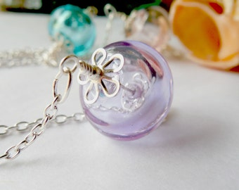 Lampwork Glass Hollow Lavender Silver Necklace
