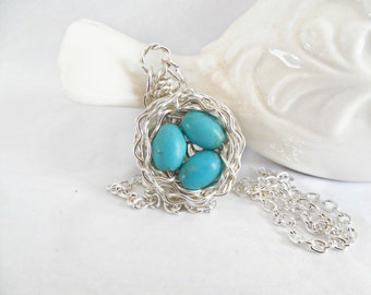 Birds Nest Necklace - Wire Wrapped - Sterling Silver - Turquoise Robin Eggs