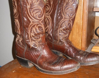 Reduced DAN POST COWBOY Boots Vintage Custom made Leather Men 9.5 D or Women 10 /11 W