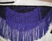 Burnout Purple Velvet and Fringe Hip Sash, Belly Dance, Fusion, workshop, Tribal, Renn Faire