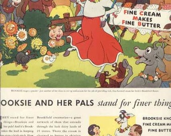 1933 Swifts Brookfield Butter Ad Brooksie and her Pals - Funny Cow Barnyard Art