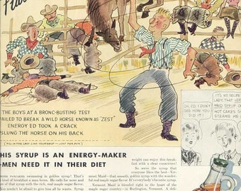 1934 Vermont Maid Syrup Ad Cowboys Rodeo Broncos GREAT COLOR