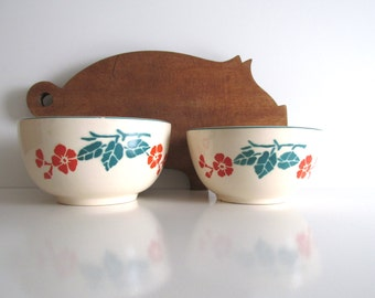 Bennett Pottery Mixing Bowls Orange Poppies Green Leaves Two 1930's Depression Era Vintage Bowls