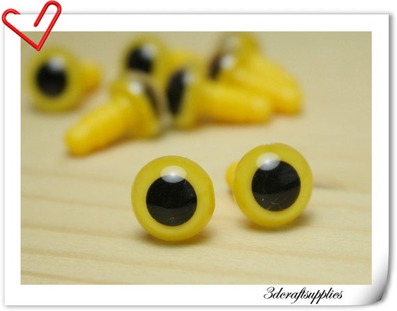 Safety Eyes Amigurumi Malaysia : 10 mm yellow Safety eye amigurumi eye doll eyes cat eye 20