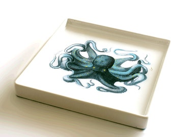 Blue Octopus Serving Tray