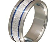 Unique Titanium Ring - Thin Blue Line - Unique Blue Frost Titanium Band - f7