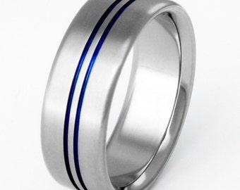 Titanium Wedding Band - Thin Blue Line - Blue Titanium Ring - b21