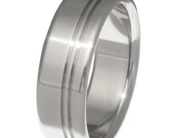 Titanium Wedding Band - Two Stripes - n8