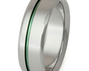 Green Titanium Band - Wedding Ring - Green Ring - Mans Ring - Womans Ring - n35