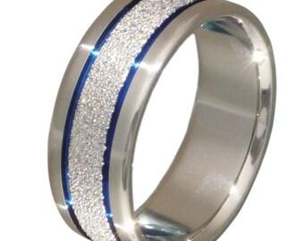 Unique Titanium Ring - Thin Blue Line - Unique Blue Frost Titanium Band - f7