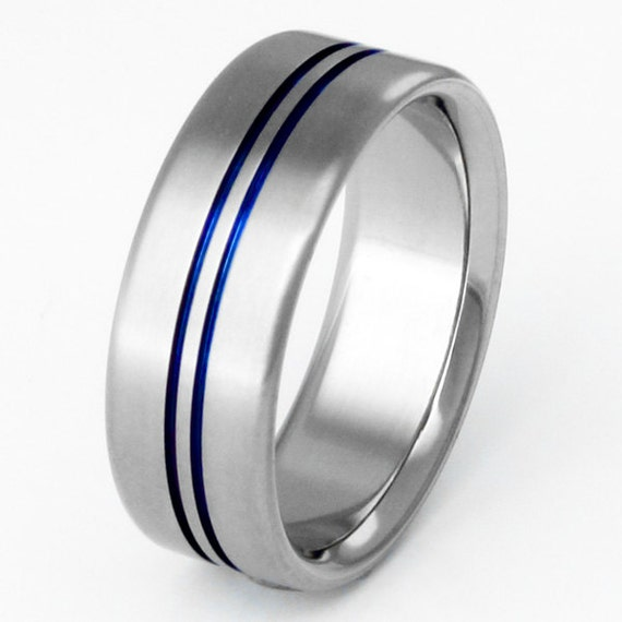 Titanium Wedding Band Thin Blue Line Blue Titanium Ring