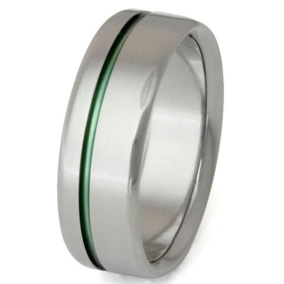 Green Titanium Band - Wedding Ring - n35