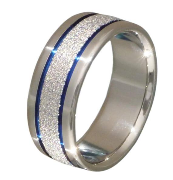 unique titanium ring thin blue line unique blue