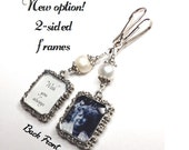 2 sided Wedding bouquet photo charm. DIY or I do photos. Pearl wedding charm. Memorial photo charm 2 sided. Bridal shower gift. Sister gift