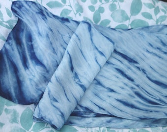 "Shibori Indigo Silk Scarf  Plant Dyed 8"" x 52"" Arashi Blue White  Habotai Silk Natural Dye Silk Pole Wrapped Shibori Hand Dyed Indigo Scarf"