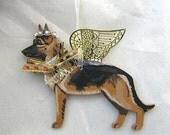 Hand-Painted GERMAN SHEPHERD TAN Metal Wing Angel Wood Ornament