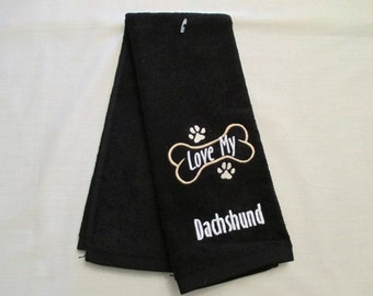 Dachshund Hand Towel, Pet Towel, Grooming Towel, Embroidered Dog Towel