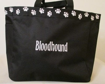 Bloodhound Tote Bag, Carrier, Embroidered, Personalized