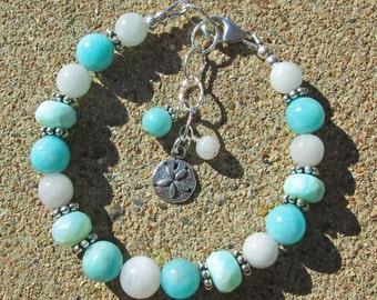 Blue Opal Moonstone Amazonite Sand Dollar Bracelet, Healing Gemstone Sterling Silver Bracelet