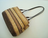Pretty Wheat Straw Vintage Handbag, Striped, Brown, Natural, Handled, 1980s, Snap Closure, Ladies, Women, Gifts For Her, Stylish, Woven