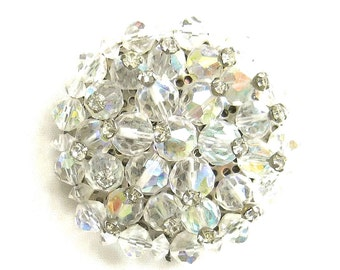 Vintage Rhinestone Tipped Aurora Borealis Crystals Cluster Brooch or Pin