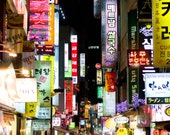 "Seoul, South Korea market photograph, exterior architecture, night light signs colorful wall art, cityscape ""Heightened Senses"""