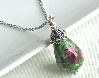 Ruby Zoisite Pendant Necklace - Sterling Silver