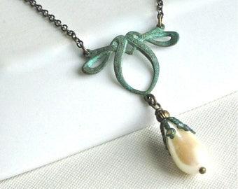 Faux Pearl Necklace - Verdigris Patina, Brass