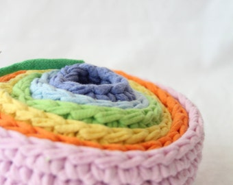 mini pastel roygbiv nesting bowls for montessori play by yourmomdesigns eco friendly upcycled t-shirt yarn