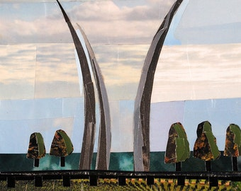 Afternoon at the Air Force Memorial, 7x5 inch ORIGINAL COLLAGE ART