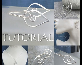 Wire Jewelry Tutorial - SWIRL LEAVES (Pendant & Earrings) - Step by Step Wire Wrapping Wirework Instructions - Instant Download