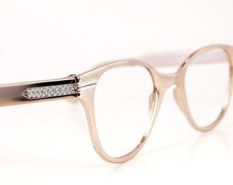 Rare Metallic Vintage 1950s Pink Metallic Shiny Glam Hollywood Unisex Cat Eye Eye/Sunglasses Aluminum Frames