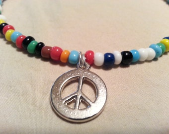 Childrens Necklace, Hippie Peace