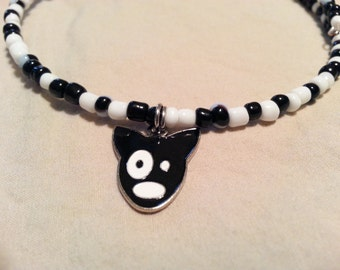 Childrens Necklace, Black and White Dog