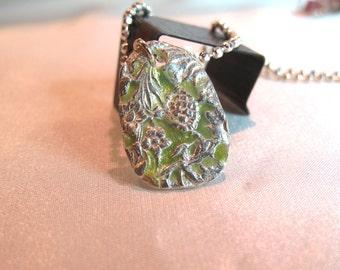 Enamel on fine silver necklace flower design,  one of kind