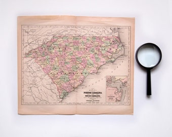 Vintage Victorian 1890 Map of North Carolina and South Carolina Antique US Map Johnson's Cyclopaedia