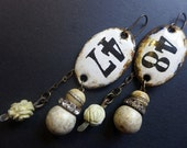 Order and Harmony. Rustic assemblage art earrings with white enameled plaques. 47/48