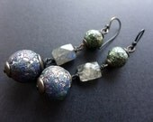 The Old Ones and the New. Texture experiment crackle and shards polymer earrings with labradorite.