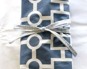 Sale - Geometric Chain Crib Sheet, French Blue - Ready to Ship